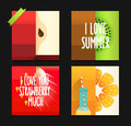 Vector set of creative summer cards. Posters with funny stylized fruits apple, kiwi and orange. Royalty Free Stock Photo