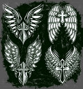Vector set of cross and wings tattoo elements dark style grunge effects can be easily removed Stock Images