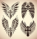Vector Set of cross and wings - tattoo - elements Royalty Free Stock Photo