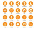 Vector set of cryptocurrency icons. Top 20 signs related to bitcoin and based on blockchain technologie crypto Royalty Free Stock Photo