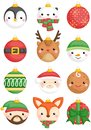 A vector set of cute animals and character christmas balls decoration Royalty Free Stock Photo
