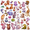 Vector set of cute animals for pets alphabet. Lion, rhino, giraffe and etc
