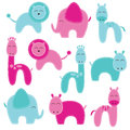 Vector Set of Cute Baby Shower Animals