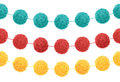 Vector Set of 3 Cute Birthday Party Pom Poms On Strings Horizontal Seamless Repeat Border Pattern. Great for handmade