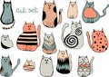 Vector set of cute cartoon cats. Collection of doodle kittens