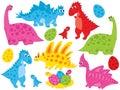 Vector Set of Cute Cartoon Dinosaurs and Eggs