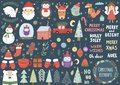 Vector set of cute Christmas elements Royalty Free Stock Photo