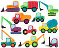 Vector Set of cute Construction Vehicles Royalty Free Stock Photo
