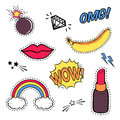 Vector set with cute fashion patch badges: lips, speech bubble, rainbow, stars, diamond, bomb, lipstick, banana isolated on white.
