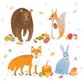Vector set of cute forest animals: fox, bear, rabbit and squirrel. Autumn leaves, pumpkin, berries.