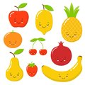 Vector set of cute fruit. very sweet apple, watermelon, avocado, pear, lemon, strawberry, pineapple.