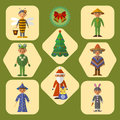 Vector set of cute kids in masquerade costumes, flat design