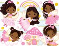 Vector Set with Cute Little African American Fairies and Nature Elements Royalty Free Stock Photo
