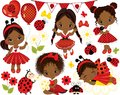 Vector Set with Cute Little African American Girls and Ladybugs Royalty Free Stock Photo