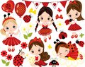 Vector Set with Cute Little Girls, Ladybugs and Flowers Royalty Free Stock Photo