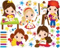 Vector Set with Cute Little Girls and Paint Elements. Vector Little Artists Royalty Free Stock Photo