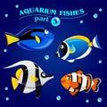 Vector set of cute marine aquarium fishes. Part 3. Royalty Free Stock Photo
