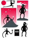 Vector set of cute ninjas Royalty Free Stock Photo