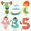 Vector set cute numbers all numbers are very cute characters Stock Images