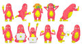 Vector set of cute pink monsters illustrations. Royalty Free Stock Photo