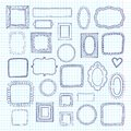 Vector set of cute vintage photo frames on notebook sheet paper background. Hand drawn doodle style for decoration.