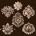 Vector set of damask ornamental elements. Elegant floral abstract elements for design. Perfect for invitations, cards