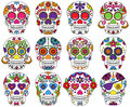 Vector Set of Day of the Dead Skulls Royalty Free Stock Photo