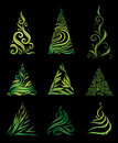 Vector set of decorative Christmas trees Royalty Free Stock Photo