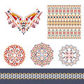 Vector set of decorative elements for design and fashion in ethnic tribal style. Neckline, seamless, border and mandala patterns