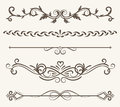 Vector set of decorative elements,  frame and line vintage style Royalty Free Stock Photo