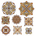 Vector set of decorative elements in vintage ornamental style. Ethnic oriental ornaments collection Royalty Free Stock Photo