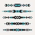 Vector set of decorative ethnic borders with american indian motifs.