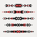 Vector set of decorative ethnic borders with american indian motifs