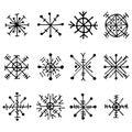 Vector set of decorative hand drawn snow flakes