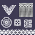 Vector set of decorative lace elements for design and fashion in ethnic indian style. Neckline, seamless, border and patterns