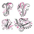 Vector set of decorative swirling floral elements Royalty Free Stock Photo