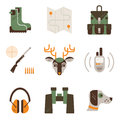 Vector set of deer hunt symbols hunting shooting gear icons modern flat set isolated on white background unique and Royalty Free Stock Image