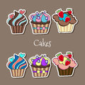 Vector set of delicious cupcakes illustration Royalty Free Stock Photo