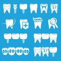 Vector set of dentist icons and teeth care Royalty Free Stock Photo