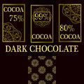 Vector set of design elements and seamless pattern for dark chocolate and cocoa packaging - labels and background Royalty Free Stock Photo
