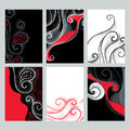 Vector set with design illustrations in dotwork style. Elegance dotted swirls in red, black and white colors for cards. Royalty Free Stock Photo