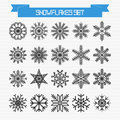 Vector set of different abstract snowflakes