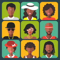 Vector set of different african american women and man app icons in trendy flat style. Royalty Free Stock Photo