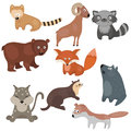 Vector set of different animals of North America. Royalty Free Stock Photo