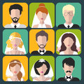 Vector set of the different brides and grooms app icons in flat style.