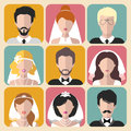 Vector set of the different brides and grooms app icons in trendy flat style.