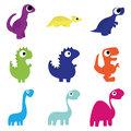 Vector Set Of Different Cute Cartoon Dinosaurs