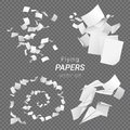 Vector set of different groups of flying papers and paper planes isolated on transparent background Royalty Free Stock Photo