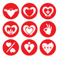 Vector set of different heart logos.