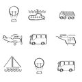 Vector set of different modes of transport logo gr a images with images the balloon submarine truck plane bus helicopter ship Stock Image